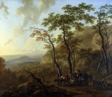 212/berchem, nicolaes - mountainous landscape with muleteers